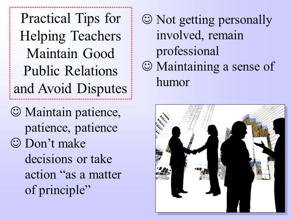 Practical Tips for Helping Teachers Maintain Good Public Relations and Avoid Disputes
