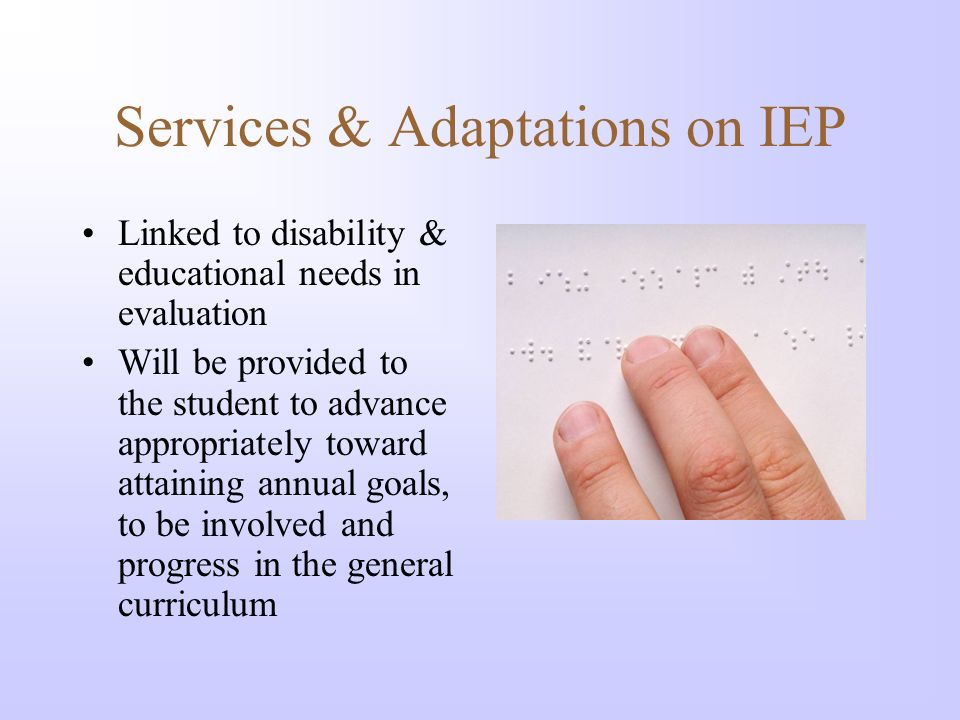Services & Adaptations on IEP