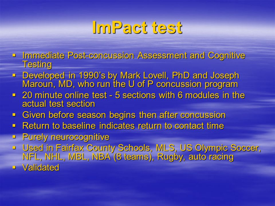 ImPact test Immediate Post-concussion Assessment and Cognitive Testing