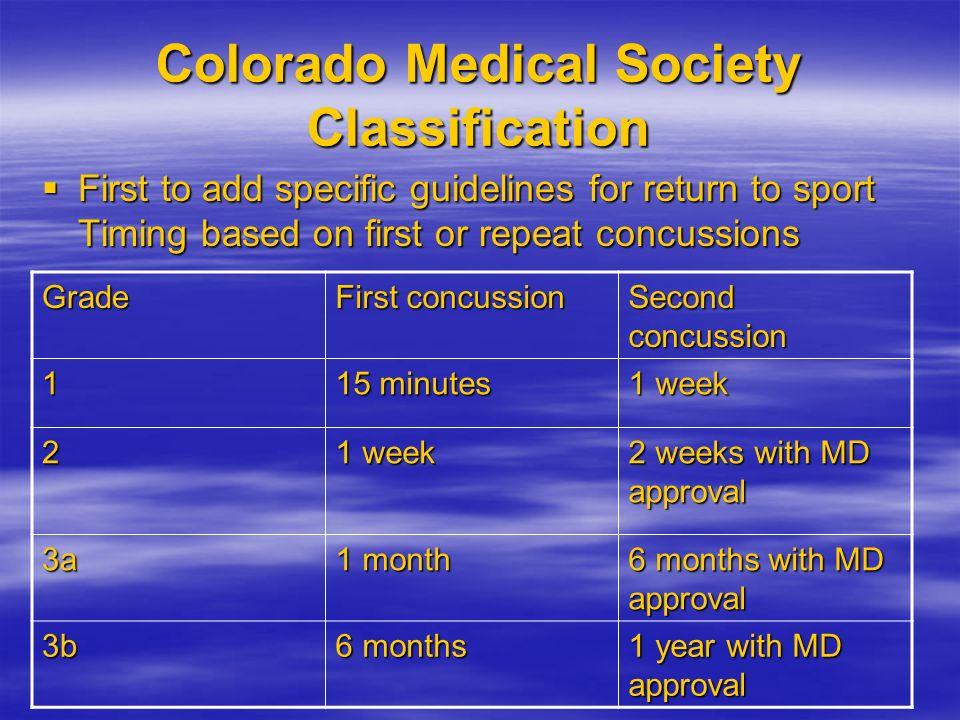 Colorado Medical Society Classification