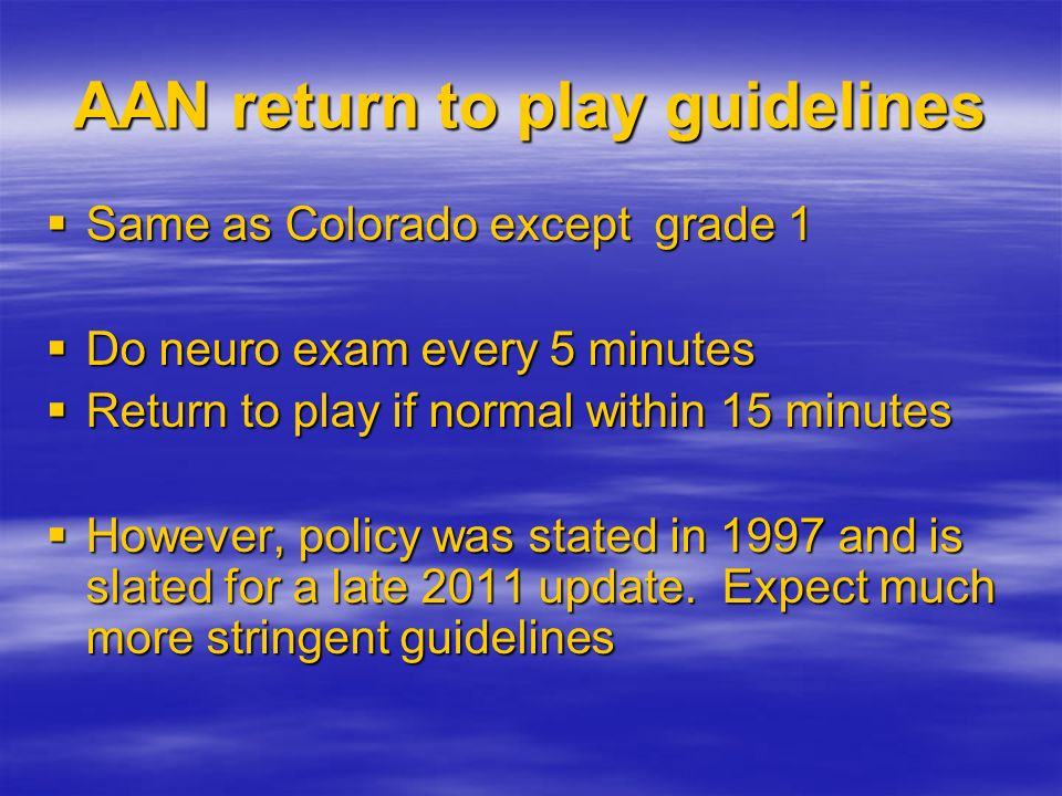 AAN return to play guidelines