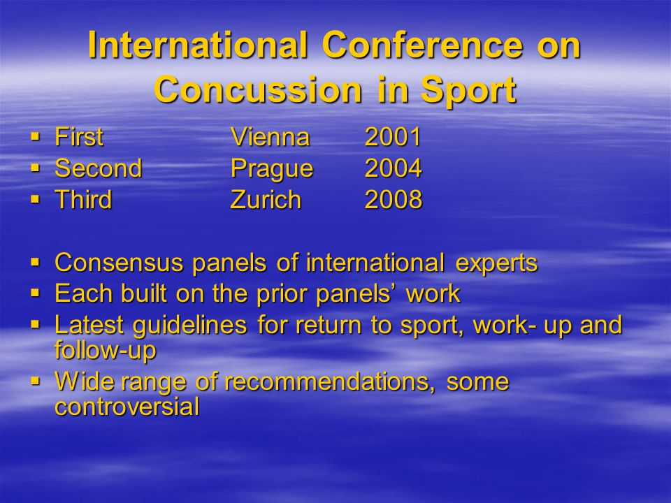 International Conference on Concussion in Sport