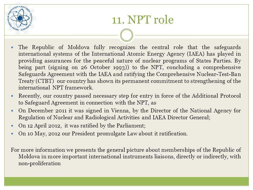 11. NPT role