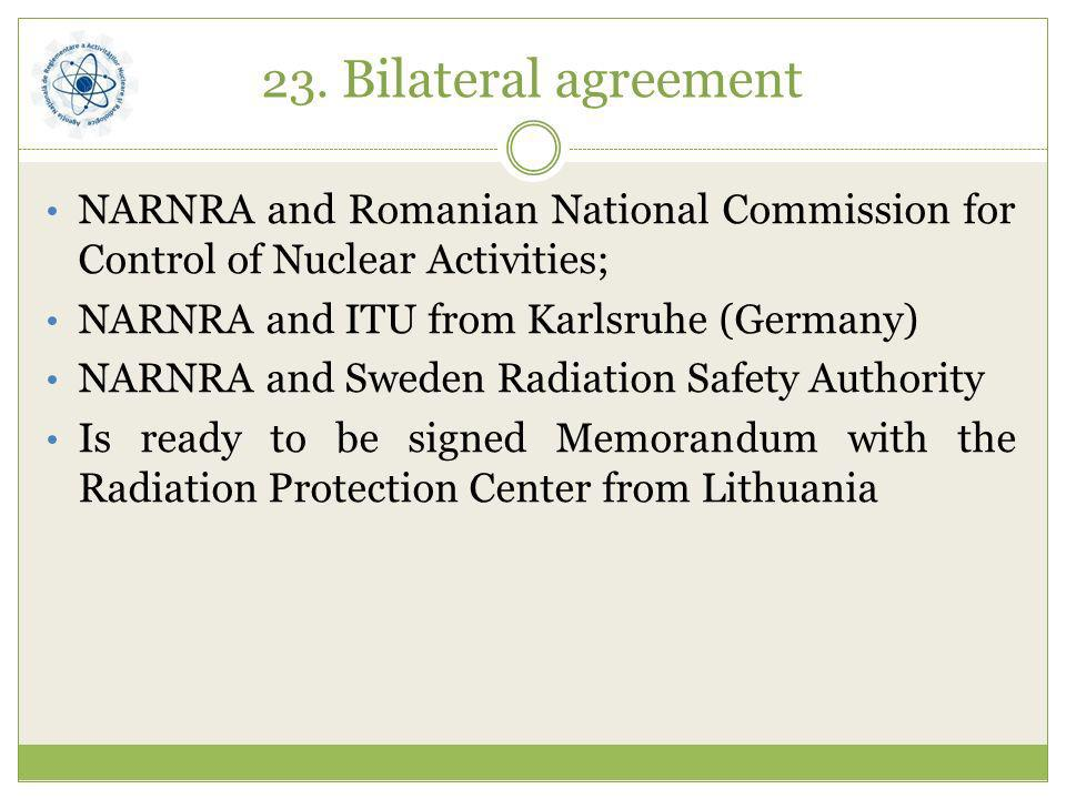 23. Bilateral agreementNARNRA and Romanian National Commission for Control of Nuclear Activities; NARNRA and ITU from Karlsruhe (Germany)