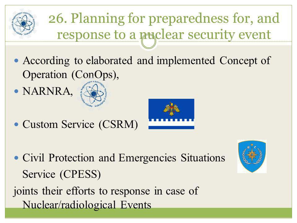 26. Planning for preparedness for, and response to a nuclear security event