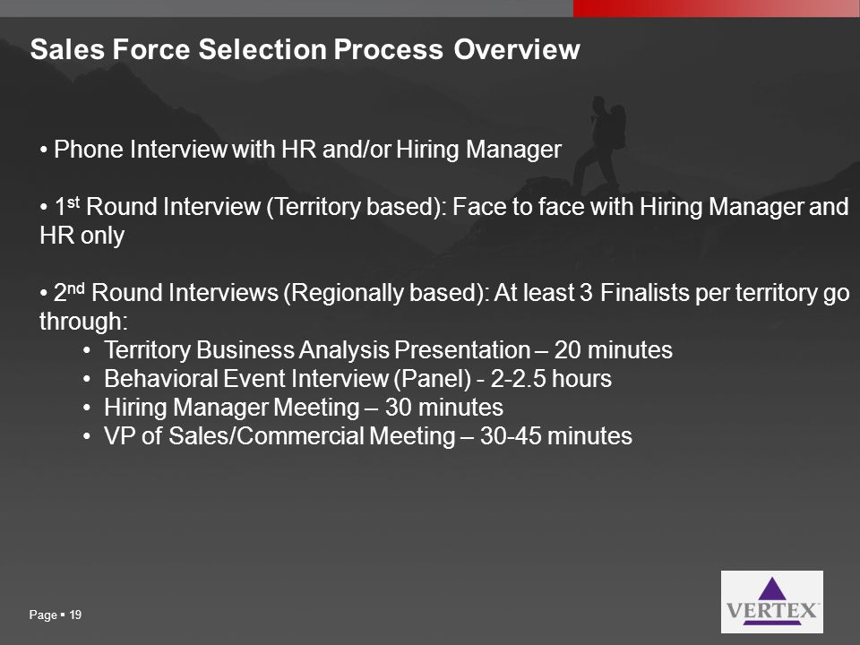 Sales Force Selection Process Overview