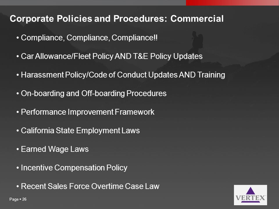 Corporate Policies and Procedures: Commercial