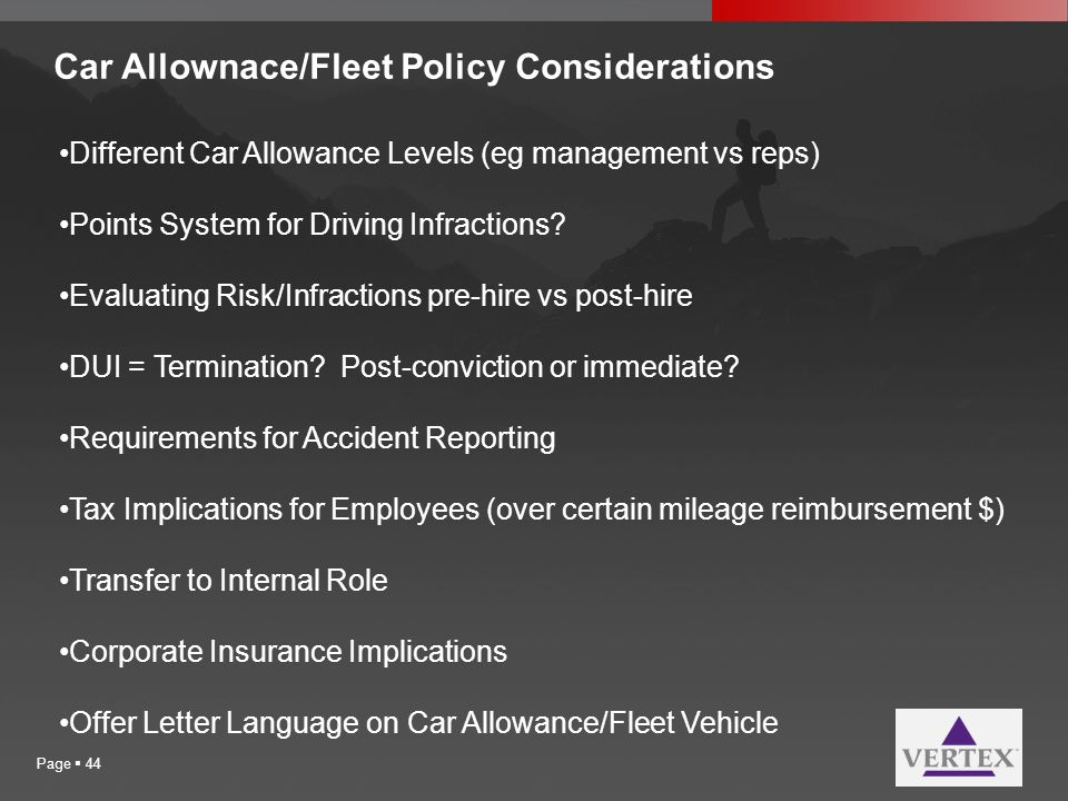 Car Allownace/Fleet Policy Considerations