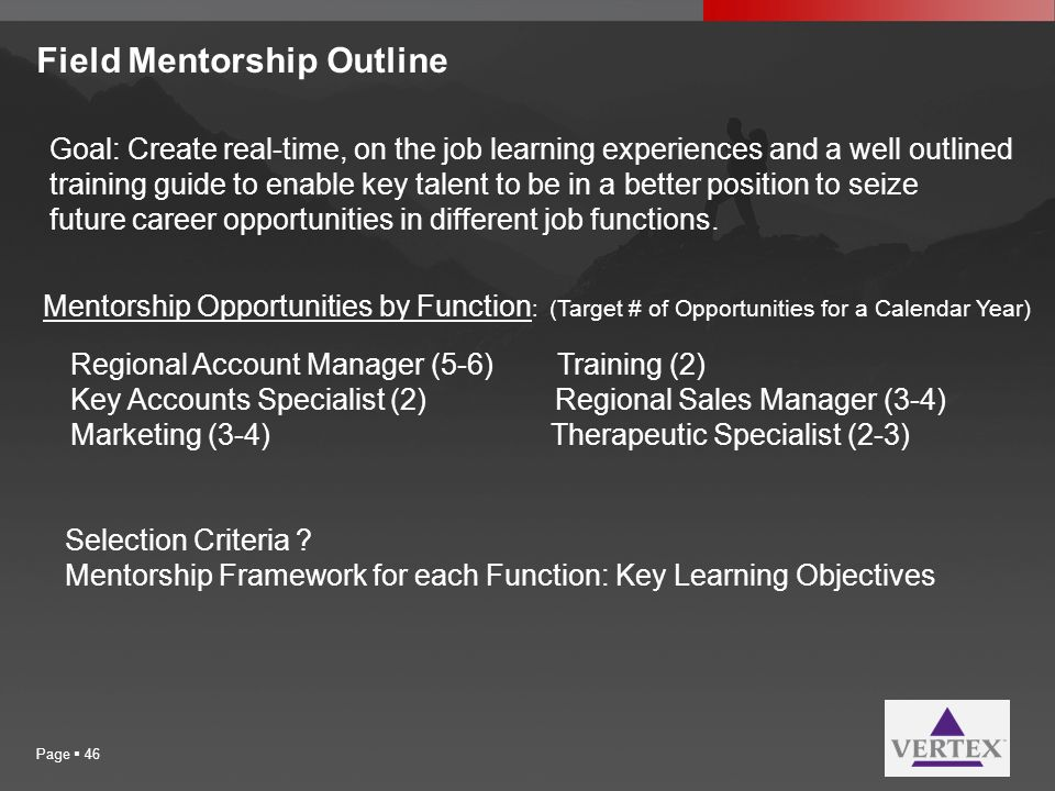 Field Mentorship Outline