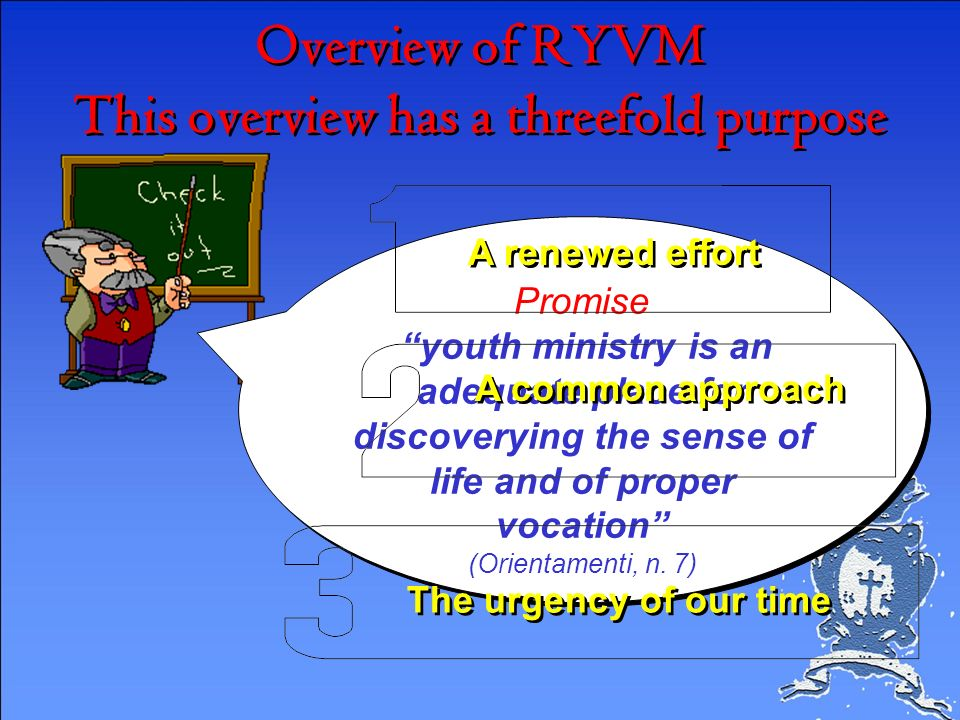 Overview of RYVM This overview has a threefold purpose