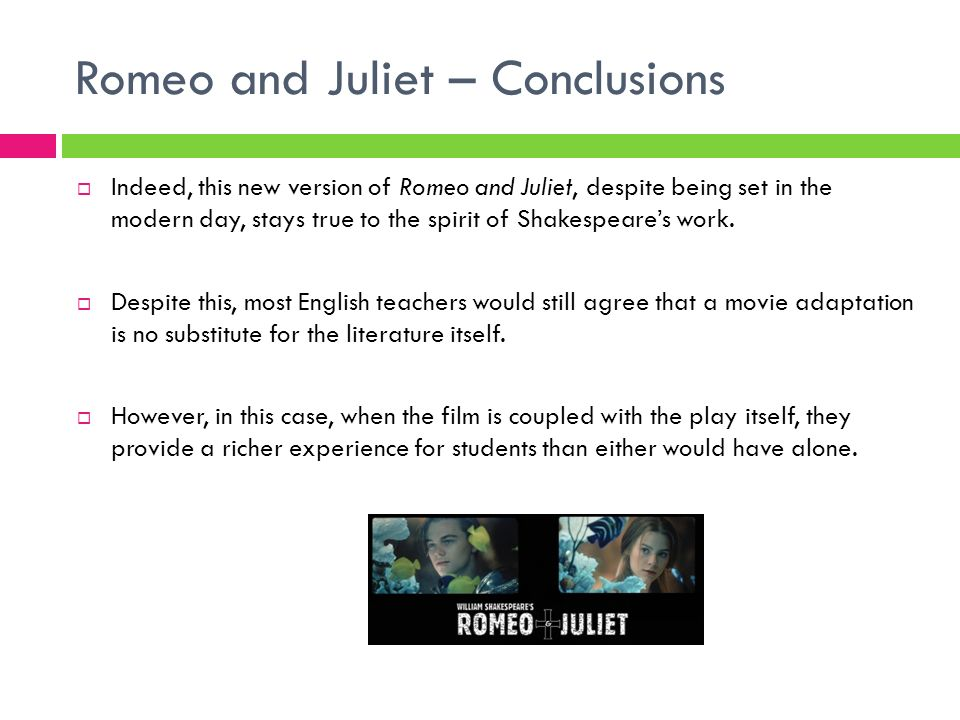 Romeo and Juliet – Conclusions