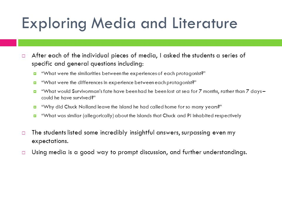 Exploring Media and Literature