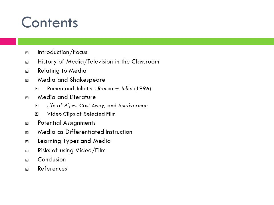 Contents Introduction/Focus