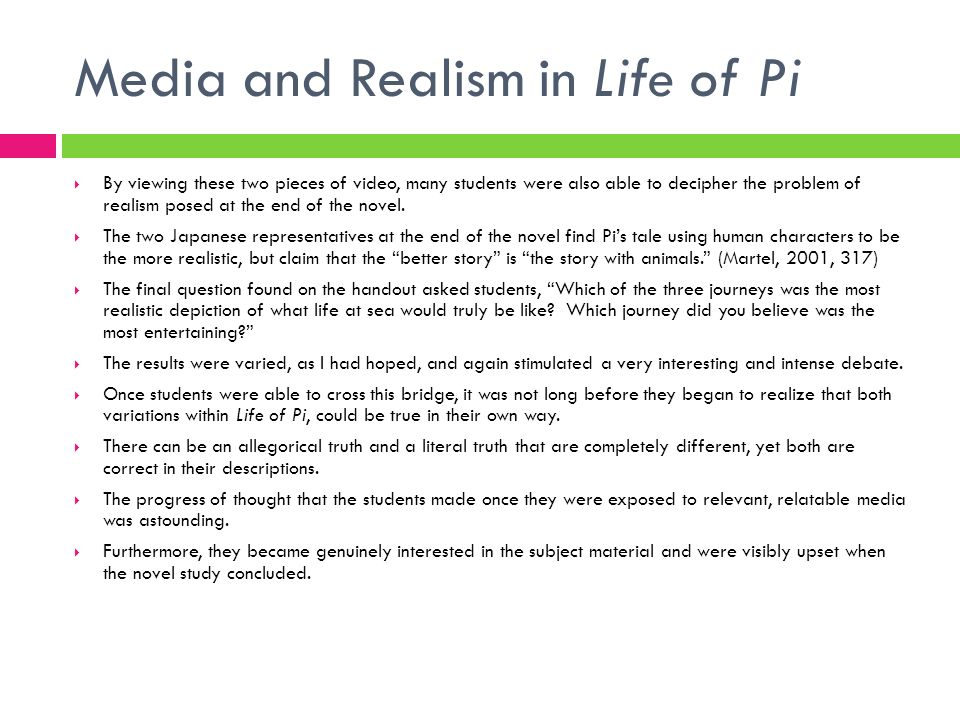 Media and Realism in Life of Pi