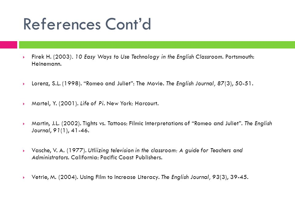 References Cont'd Firek H. (2003). 10 Easy Ways to Use Technology in the English Classroom. Portsmouth: Heinemann.