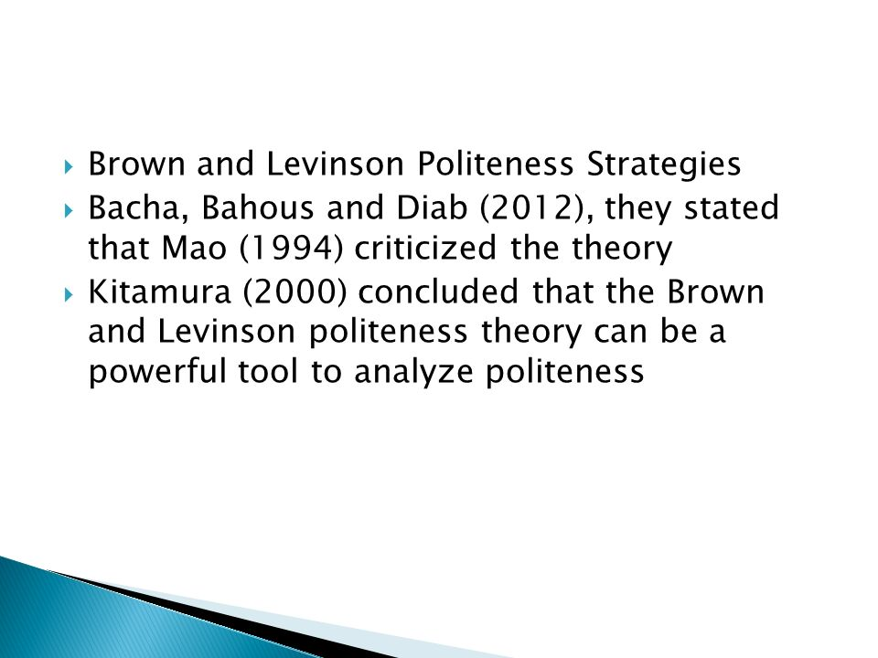 Brown and Levinson Politeness Strategies