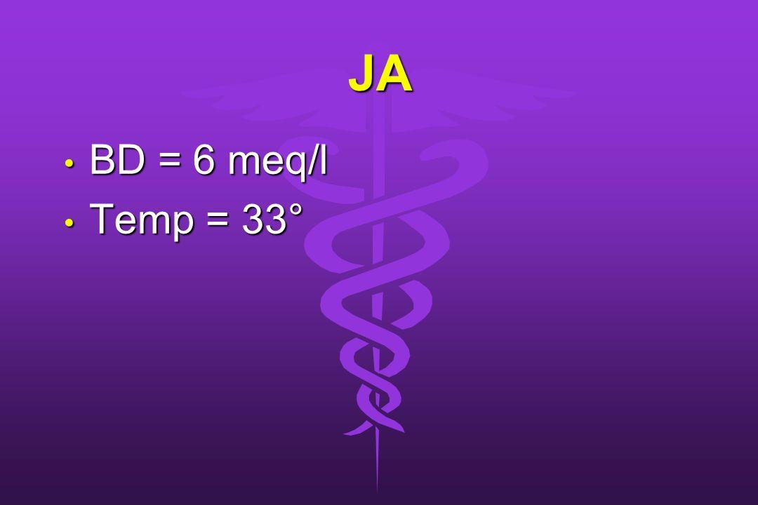 JA BD = 6 meq/l Temp = 33°