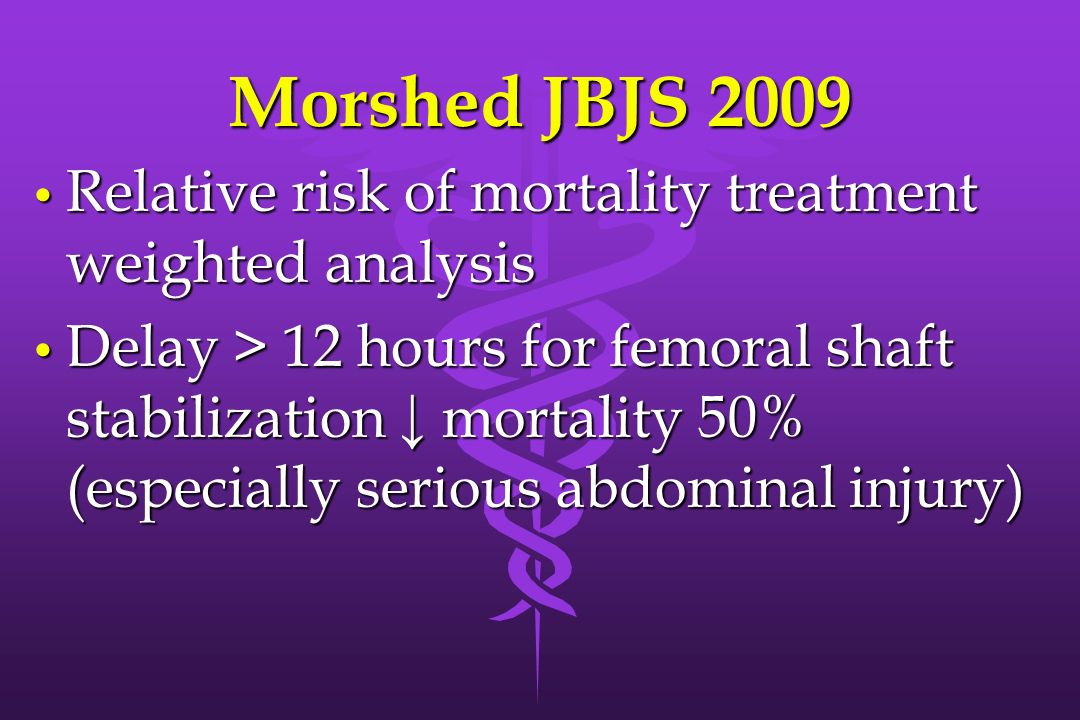 Morshed JBJS 2009 Relative risk of mortality treatment weighted analysis.