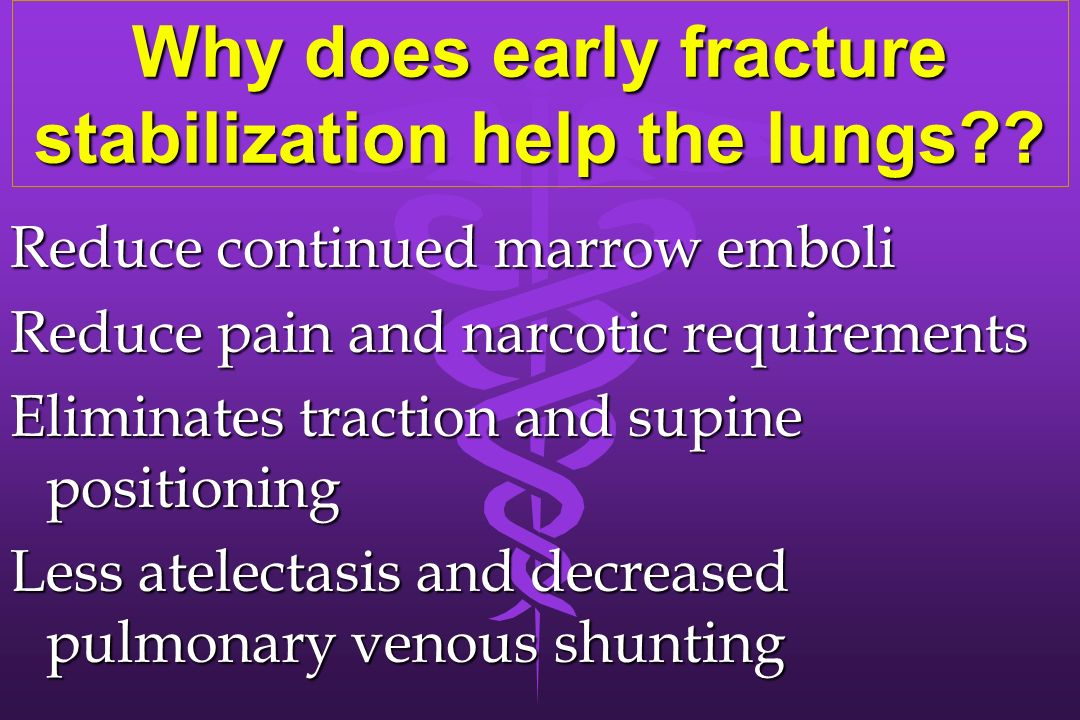 Why does early fracture stabilization help the lungs