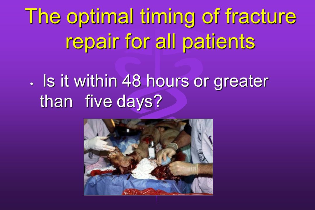 The optimal timing of fracture repair for all patients