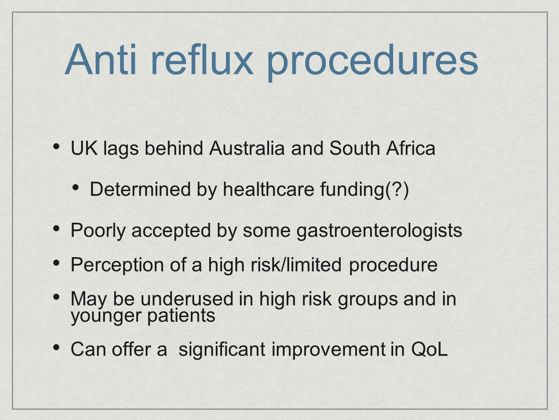 Anti reflux procedures