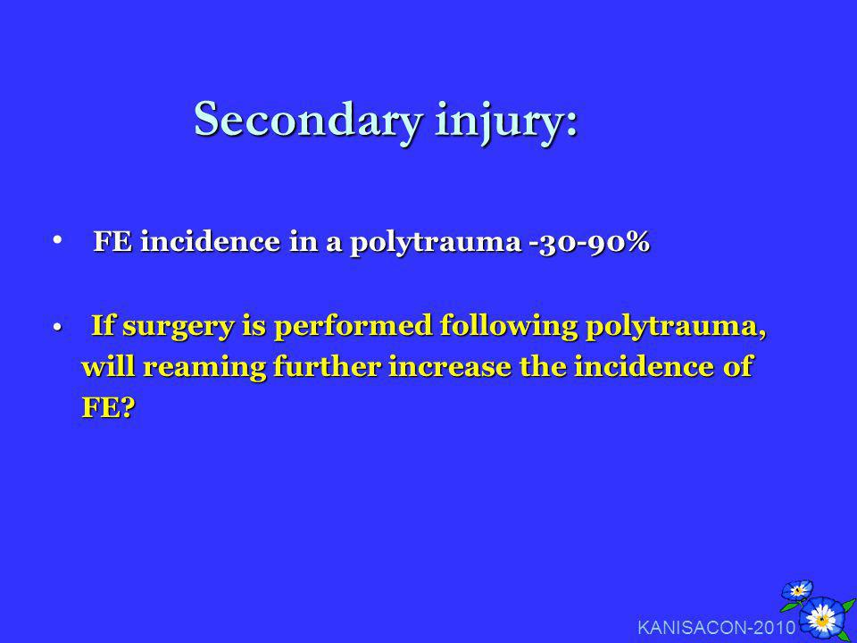 Secondary injury: FE incidence in a polytrauma -30-90%