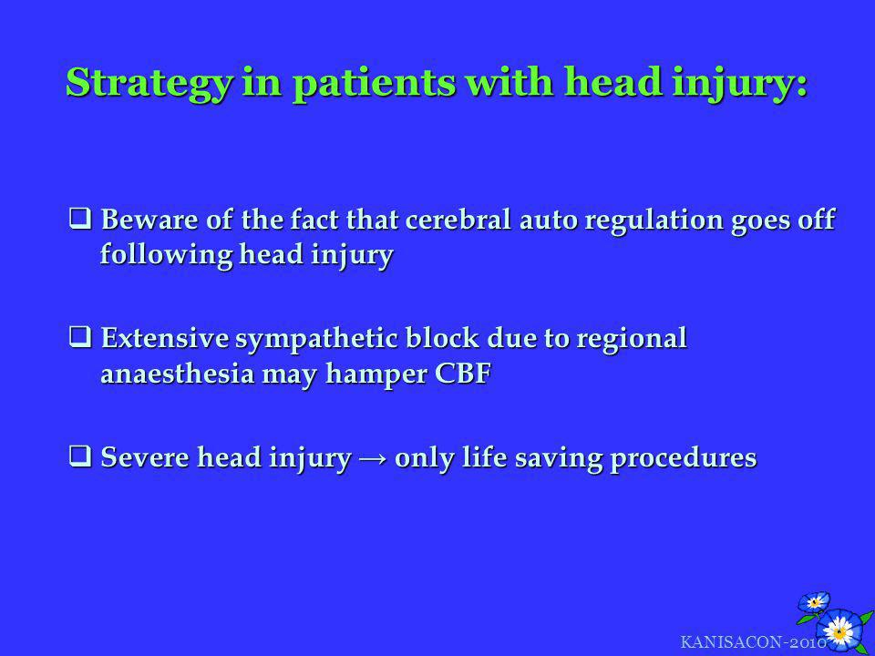 Strategy in patients with head injury: