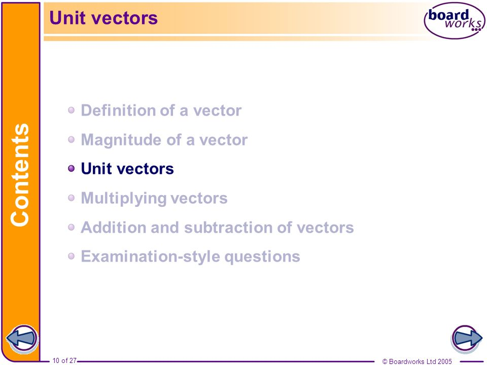 Contents Unit vectors Definition of a vector Magnitude of a vector