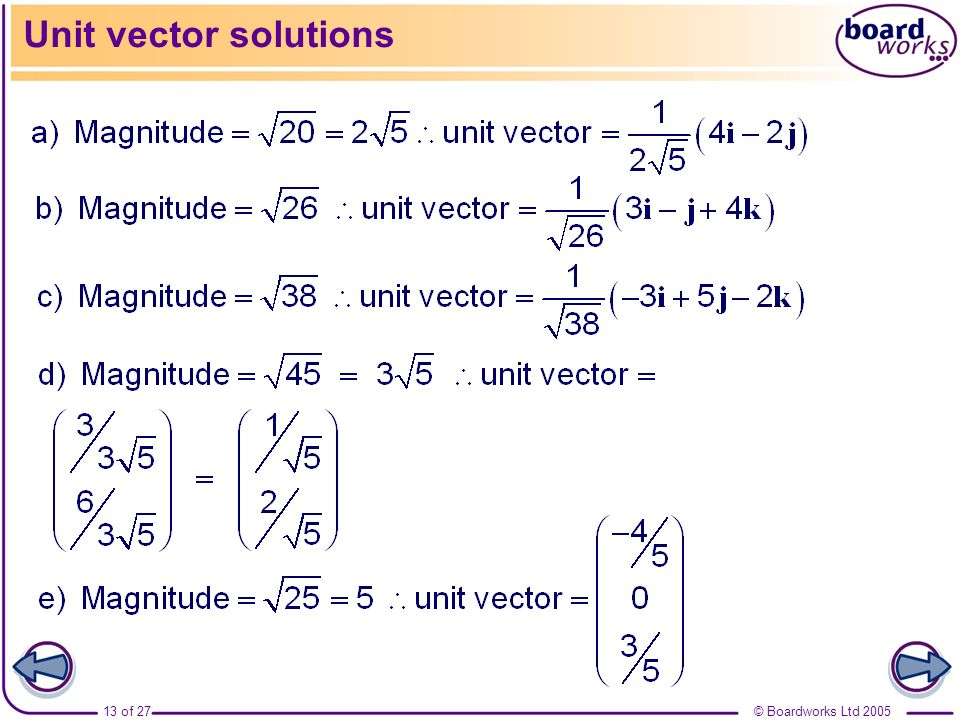 Unit vector solutions