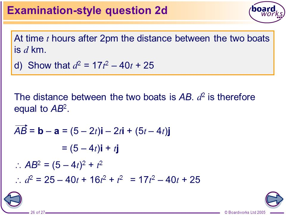 Examination-style question 2d