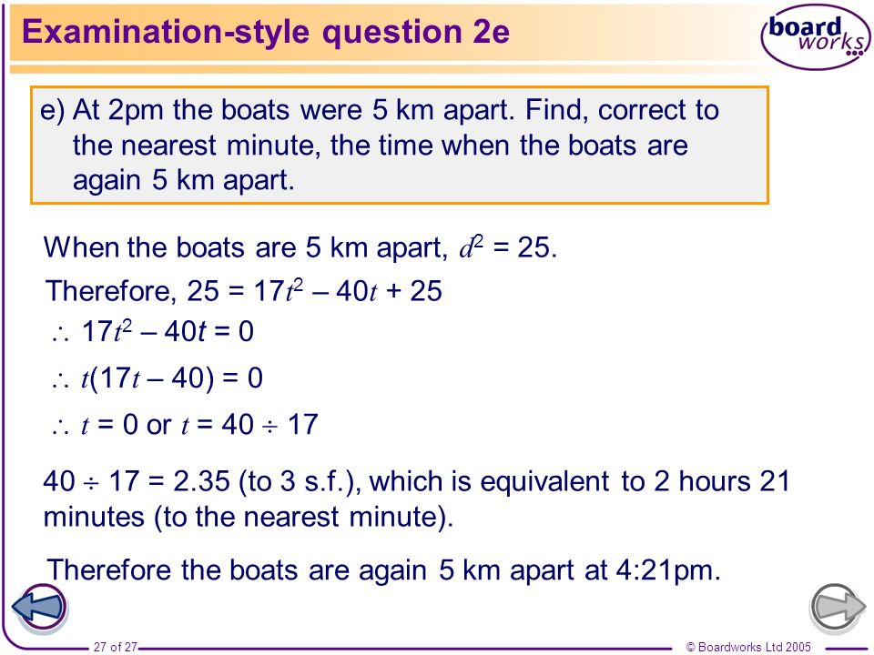 Examination-style question 2e