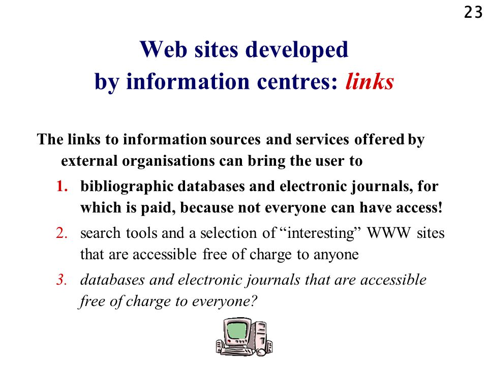 Web sites developed by information centres: links