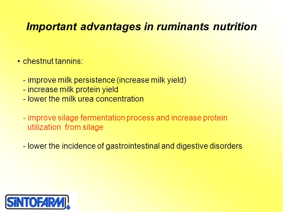 Important advantages in ruminants nutrition