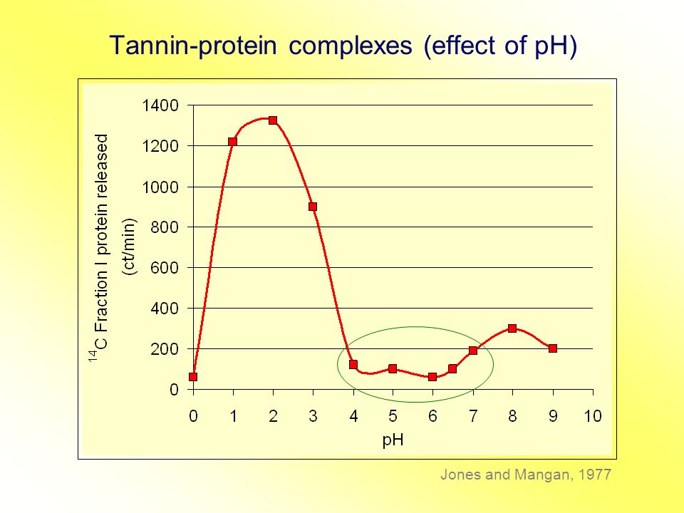 Tannin-protein complexes (effect of pH)