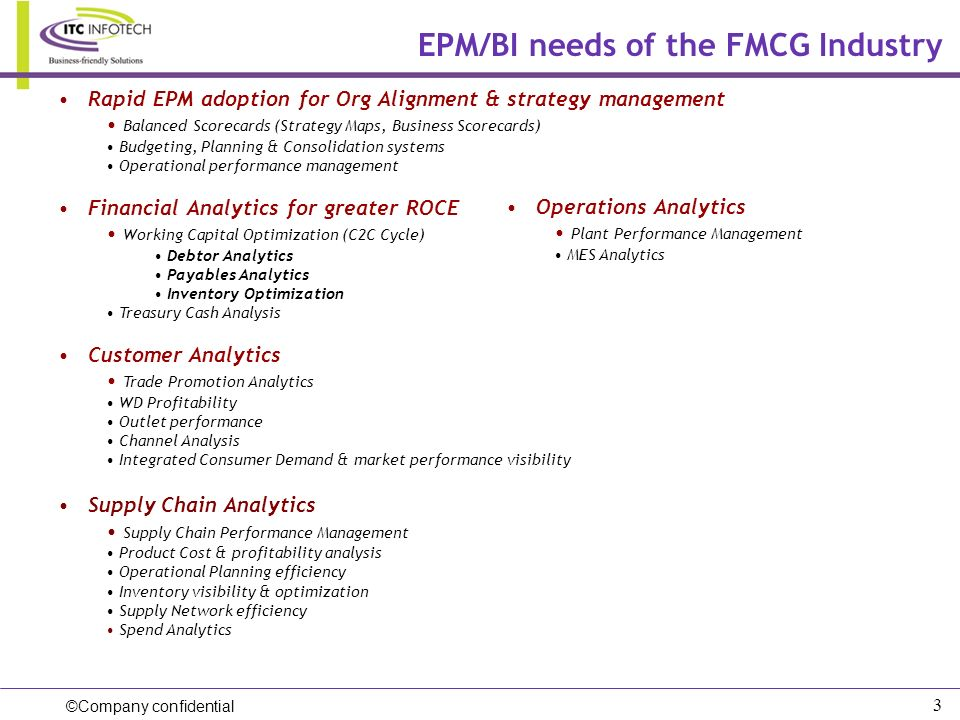 EPM/BI needs of the FMCG Industry
