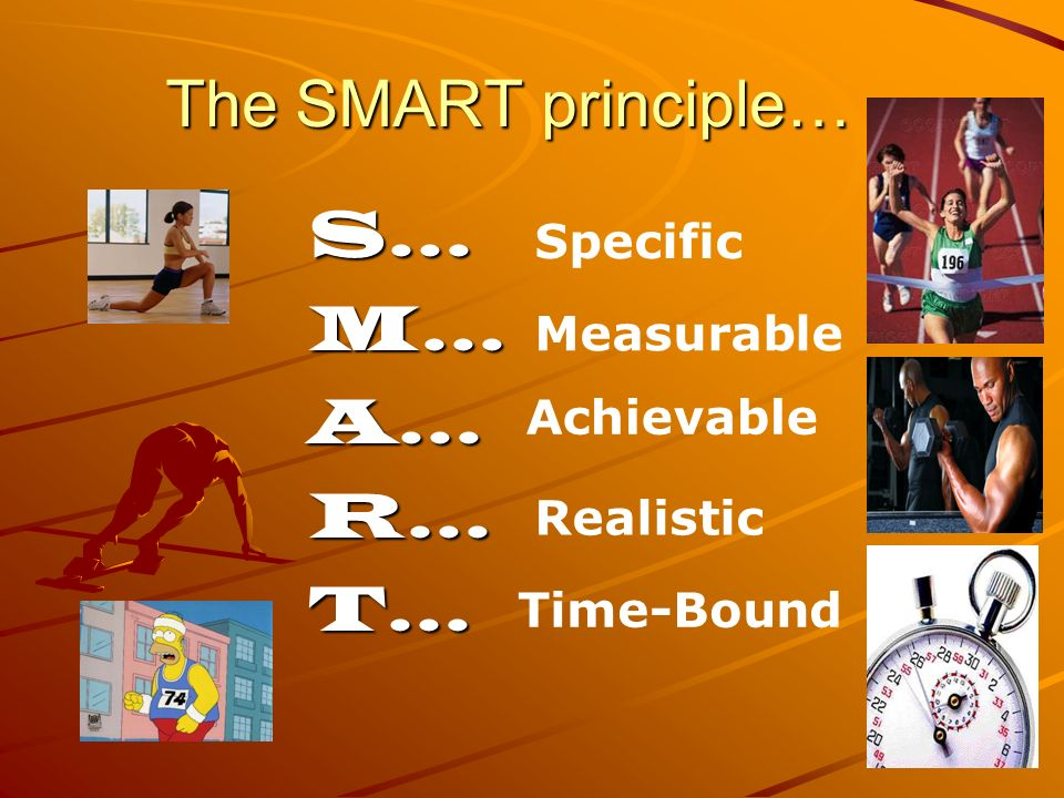 The SMART principle… S… M… A… R… T… Specific Measurable Achievable
