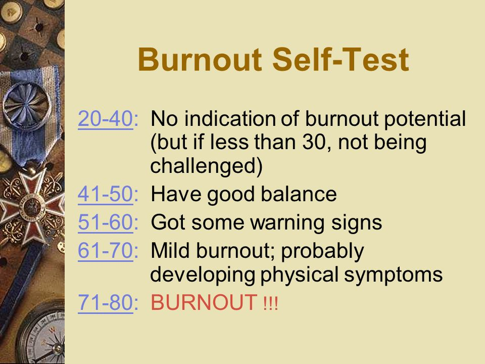 Burnout Self-Test 20-40: No indication of burnout potential (but if less than 30, not being challenged)