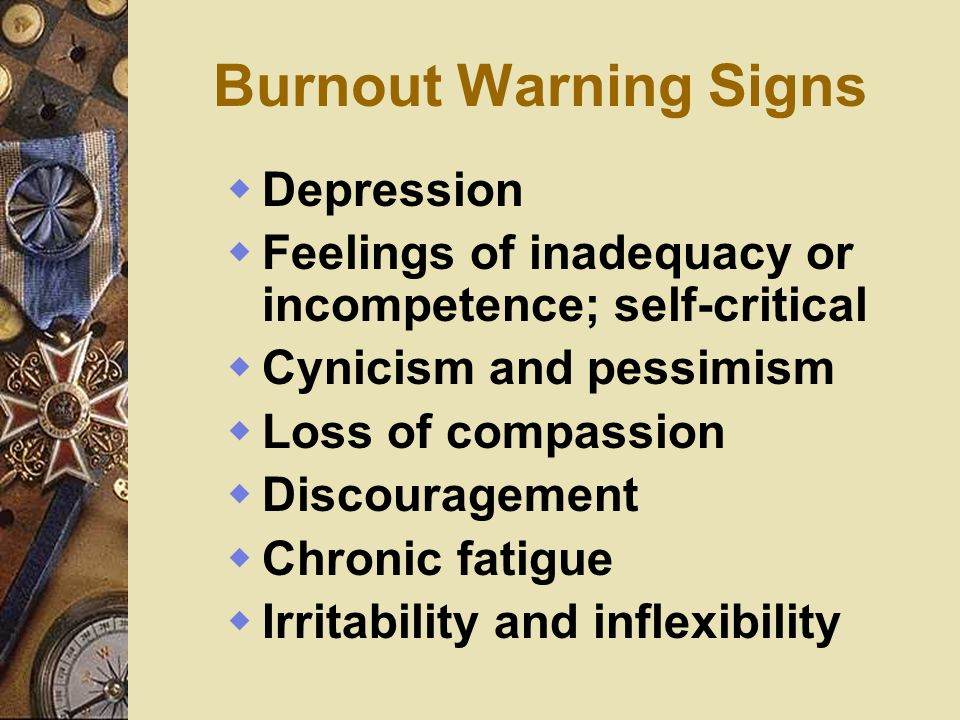 Burnout Warning Signs Depression