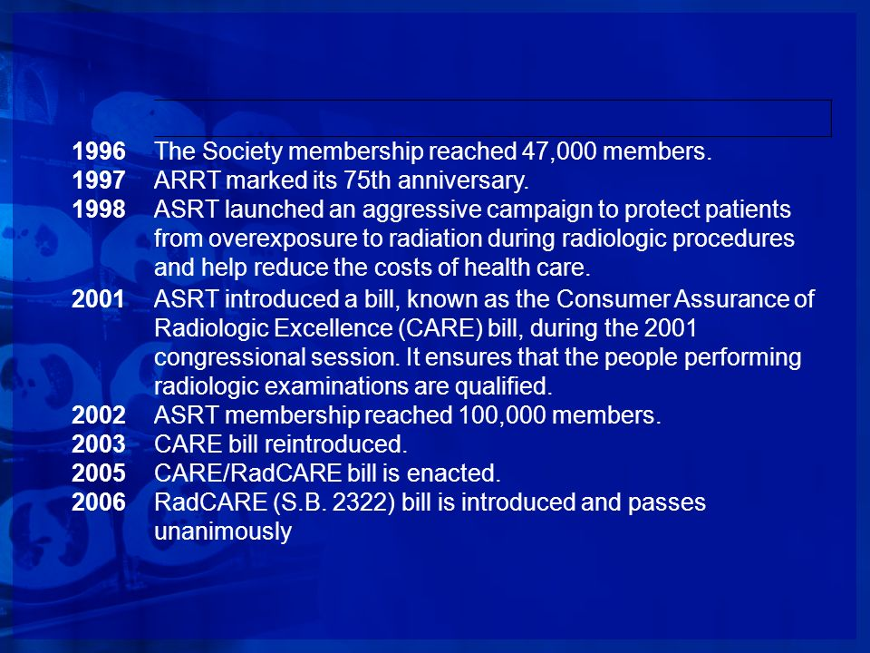 1996 The Society membership reached 47,000 members. 1997. ARRT marked its 75th anniversary. 1998.