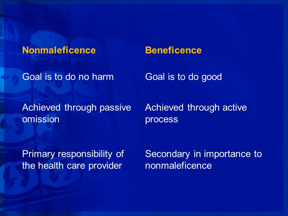 NonmaleficenceBeneficence. Goal is to do no harm. Goal is to do good. Achieved through passive omission.