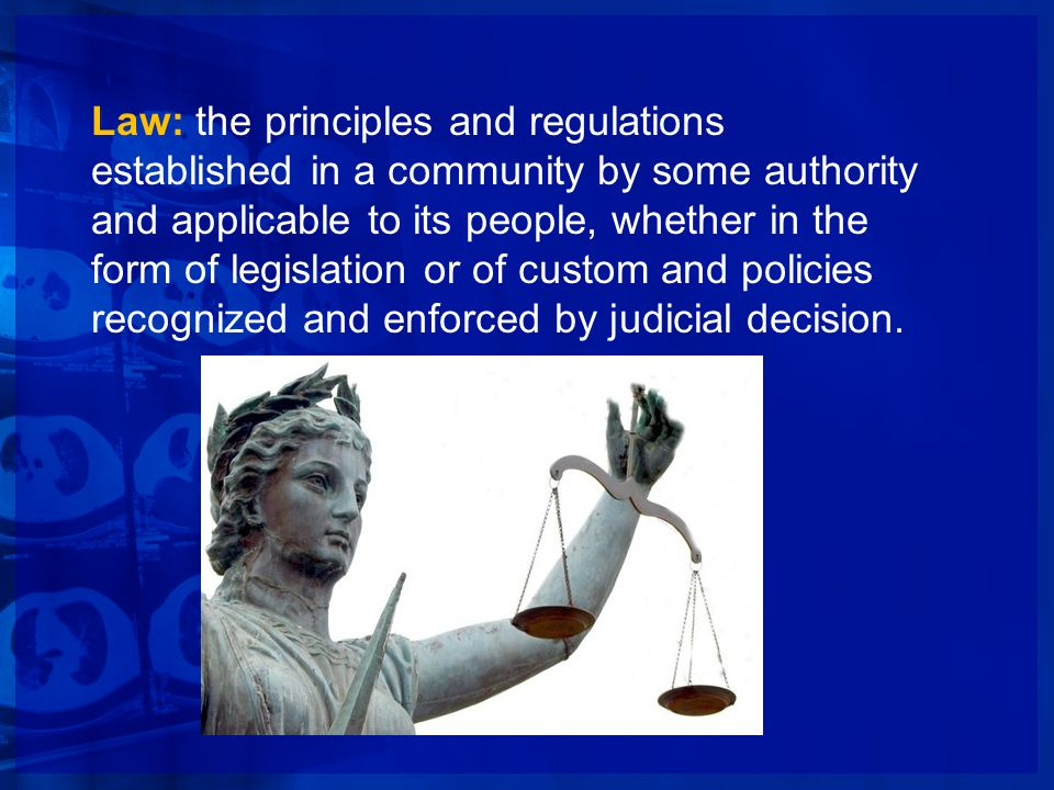 Law: the principles and regulations established in a community by some authority and applicable to its people, whether in the form of legislation or of custom and policies recognized and enforced by judicial decision.