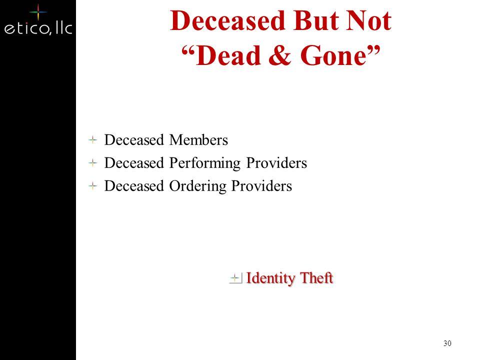 Deceased But Not Dead & Gone