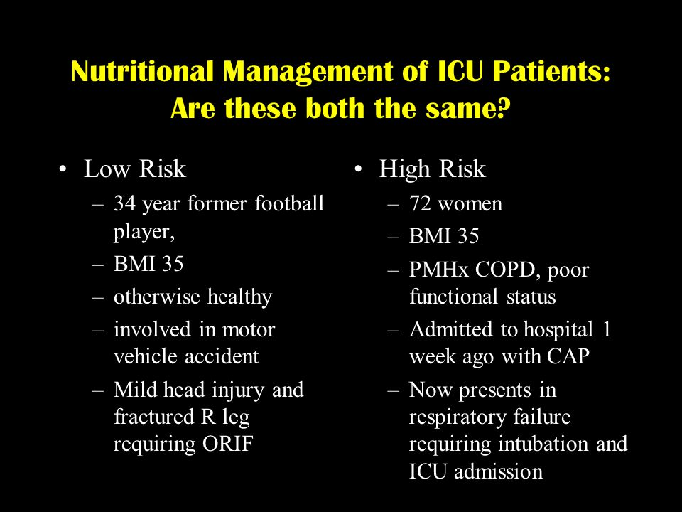 Nutritional Management of ICU Patients: Are these both the same