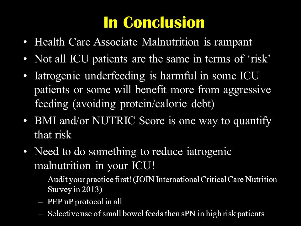 In Conclusion Health Care Associate Malnutrition is rampant