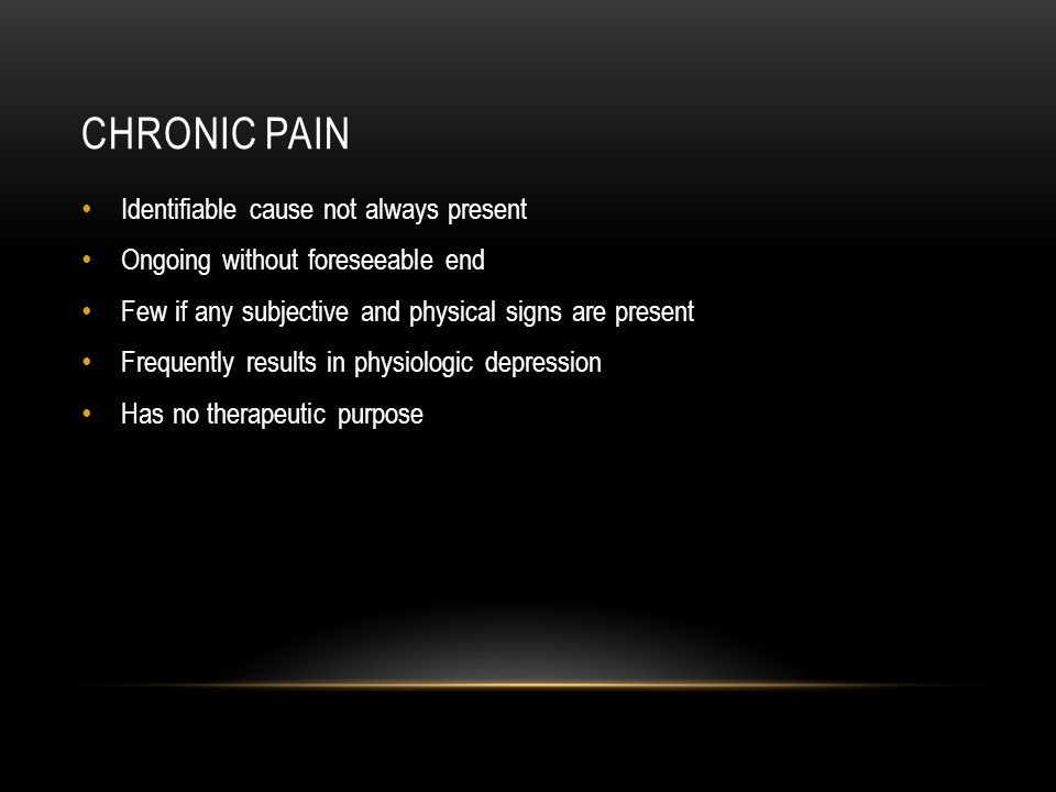Chronic pain Identifiable cause not always present