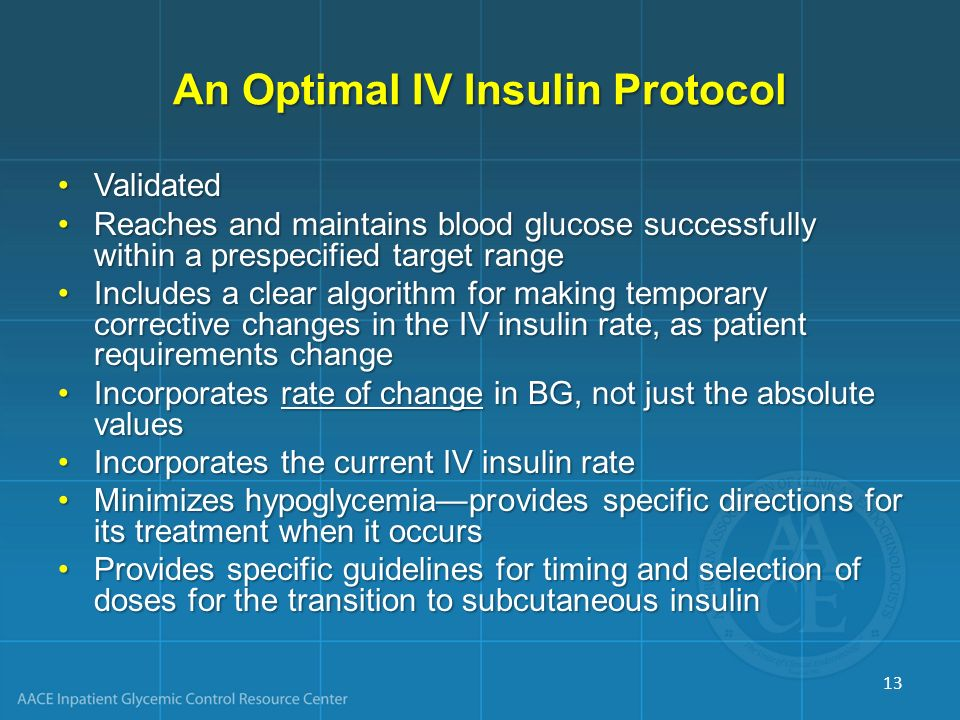 An Optimal IV Insulin Protocol