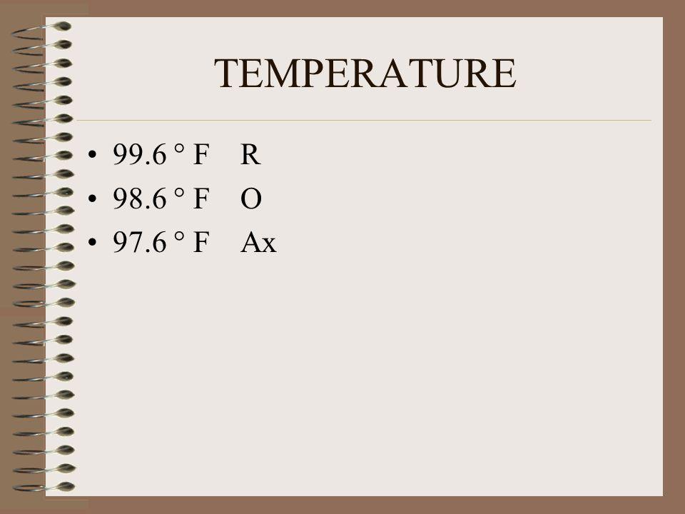 TEMPERATURE 99.6 ° F R 98.6 ° F O 97.6 ° F Ax