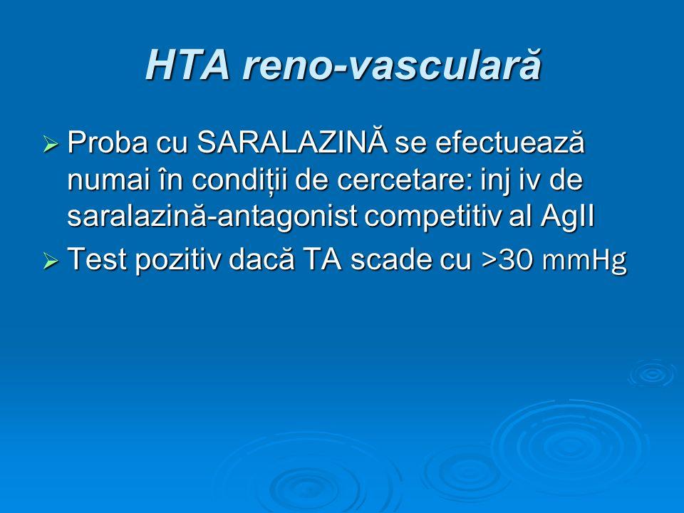 HTA reno-vasculară Proba cu SARALAZINĂ se efectuează numai în condiţii de cercetare: inj iv de saralazină-antagonist competitiv al AgII.