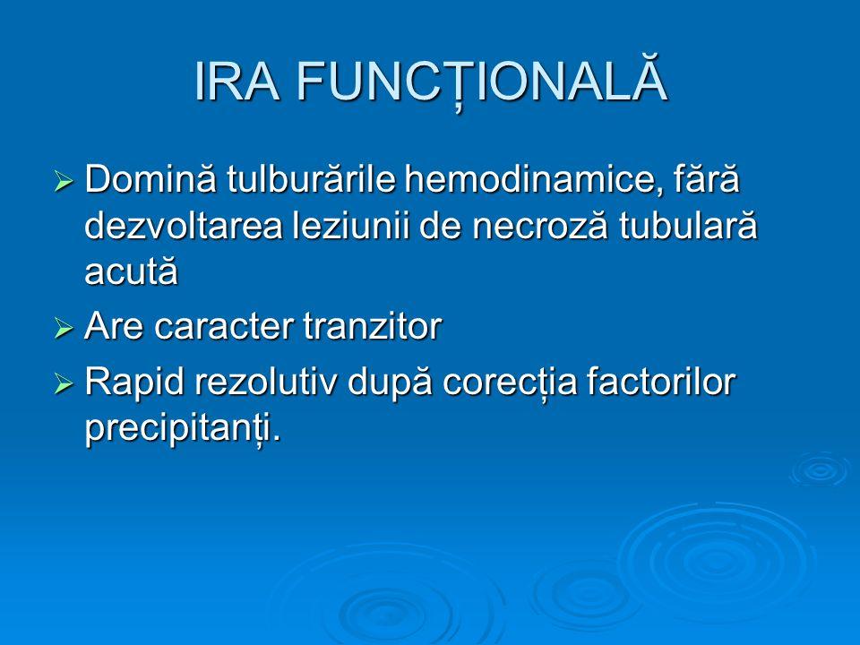 IRA FUNCŢIONALĂ Domină tulburările hemodinamice, fără dezvoltarea leziunii de necroză tubulară acută.