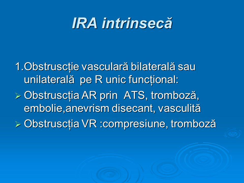 IRA intrinsecă 1.Obstruscţie vasculară bilaterală sau unilaterală pe R unic funcţional: